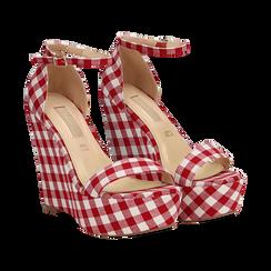 Sandali bianco/rossi in tessuto Vichy, zeppa 13 cm, Scarpe, 132117220TSBIRO, 002 preview