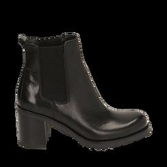 Chelsea boots neri in pelle, tacco 7,50 cm , Primadonna, 167734401PENERO035, 001a