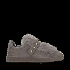 Sneakers grigie slip-on con dettagli faux-fur e borchie, Primadonna, 129300023MFGRIG038, 001a