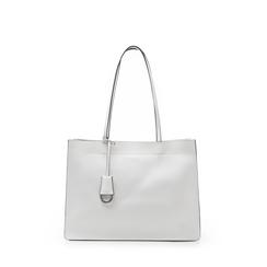 Borsa grande bianca in eco-pelle con design squadrato, Borse, 133763722EPBIANUNI, 001a
