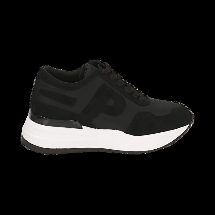 Sneakers nere in tessuto tecnico, suola 5,50 cm , Scarpe, 142898983TSNERO039