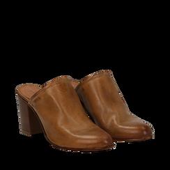 Mules cuoio in vera pelle, tacco 8 cm , Primadonna, 137725905PECUOI041, 002a