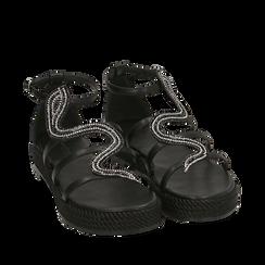 Sandali neri in laminato, Primadonna, 154965221EPNERO036, 002a