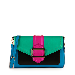 Mini bag multicolor verde in eco-pelle e raso, NUOVI ARRIVI, 152392494EPGIALUNI, 001a