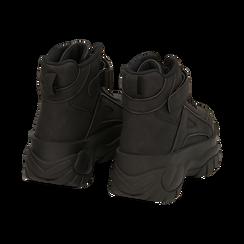 Sneakers platform nere in micro-nabuk, con strap, zeppa 5,50 cm , Scarpe, 14D814403MNNERO035, 004 preview