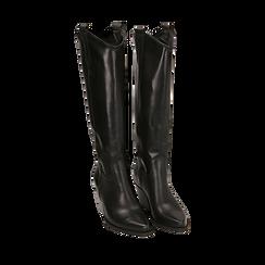 Camperos neri in pelle di vitello, tacco 7 cm, Scarpe, 14A200902VINERO035, 002a