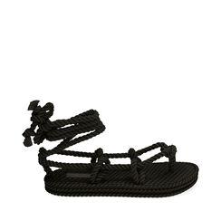 Sandalias de mar negras de tela, Primadonna, 170909004TSNERO035, 001a