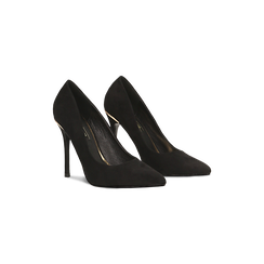 Décolleté nere con punta affusolata, tacco stiletto 11 cm, Scarpe, 122146861MFNERO035, 002