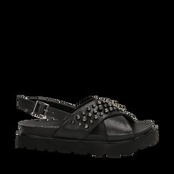 Sandali platform neri in eco-pelle con perle nere, zeppa 4 cm , Saldi Estivi, 130701860EPNERO035, 001a