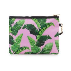 Pochette verde in raso con stampa jungle, Saldi Estivi, 115910014RSVERDUNI, 003 preview