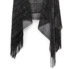 Poncho nero in tessuto laminato , Abbigliamento, 13B445057LMNEROUNI, 002a