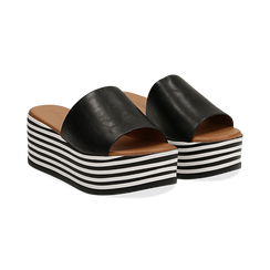 Zeppe platform nere in eco-pelle, zeppa optical 6,50 cm, Saldi Estivi, 139716069EPNERO035, 002 preview