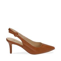 Slingback cognac, tacón 7 cm, Zapatos, 172133673EPCOGN036, 001a