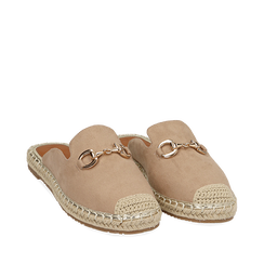 Slippers beige in microfibra, Chaussures, 154951159MFBEIG035, 002a