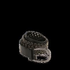 Cintura nera in eco-pelle con borchie, Abbigliamento, 144010320EPNEROUNI, 001a