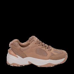 Dad shoes nude in microfibra, zeppa 4,50 cm, Sneakers, 142619462MFNUDE035, 001a