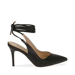 Slingback lace-up negro, tacón 9 cm, Zapatos, 172106620EPNERO036, 001a