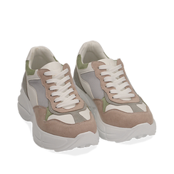 Dad shoes rosa in microfibra, Sneakers, 152899259MFROSA035, 002a