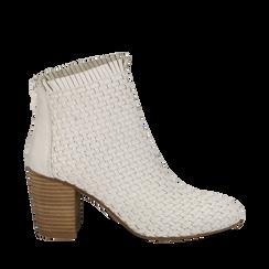 Ankle boots bianchi in pelle intrecciata, tacco 8 cm, Saldi Estivi, 13C515018PIBIAN035, 001a