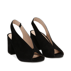 Slingback nere in camoscio, tacco 8 cm , Saldi, 13D602014CMNERO035, 002a