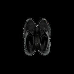 Francesine stringate nere con tacco alto, plateau e rifiniture, Scarpe, 128401245EPNERO, 004 preview