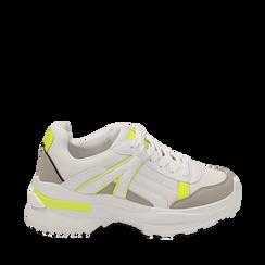 Dad shoes bianche/giallo fluo in tessuto, Scarpe, 154106013TSBIGI035, 001a