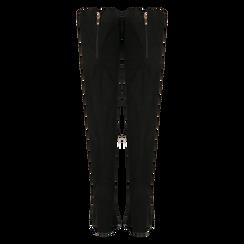 Stivali sopra il ginocchio scamosciati neri, tacco 9,5 cm, Scarpe, 122186681MFNERO, 003 preview