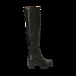 Overknee neri in eco-pelle, tacco 7 cm, Primadonna, 142828202EPNERO035, 001a