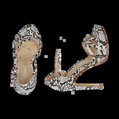 Sandalias en eco-piel con estampado de serpiente color blanco/negro, tacón 12,50 cm , OPORTUNIDADES, 152118123PTBINE036, 003 preview