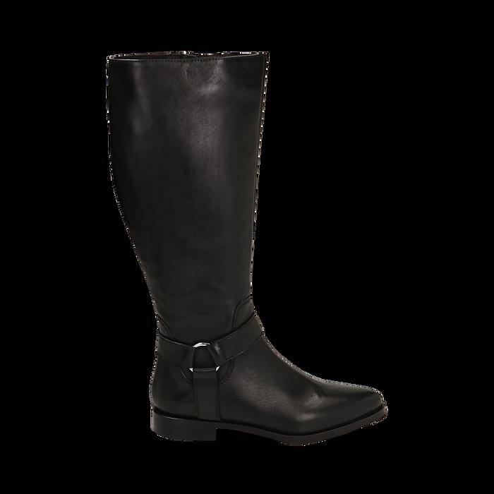 Stivali con borchie neri in pelle, Scarpe, 146208902PENERO036