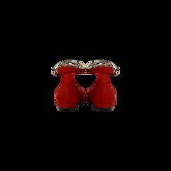 Ballerine rosse microfibra scamosciata con cavigliera e tacco basso, Primadonna, 124971303MFROSS, 003 preview