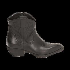 Camperos neri in pelle, tacco 4 cm, Primadonna, 157732901PENERO036, 001 preview