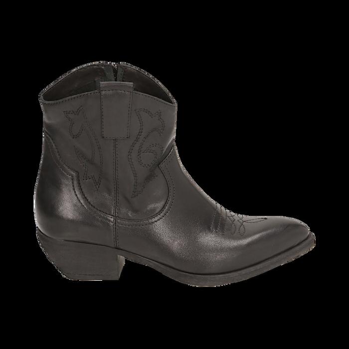 Camperos neri in pelle, tacco 4 cm, Primadonna, 157732901PENERO036