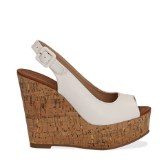 Sandali platform bianchi in eco-pelle, zeppa in sughero 12 cm , Primadonna, 134907982EPBIAN036, 001a