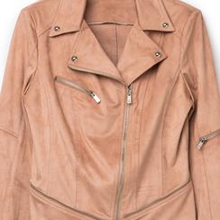 Biker jacket nude in microfibra con zip e boules, Primadonna, 136501757MFNUDEL, 002a