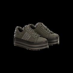 Sneakers grigie suola platform multistrato, Primadonna, 122818575MFGRIG035, 002