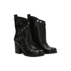 Tronchetti neri con gambale asimmetrico, tacco 4 cm, Scarpe, 123018602EPNERO, 002 preview