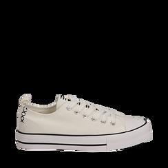 Sneakers bianche in canvas, Scarpe, 137300862CABIAN035, 001a