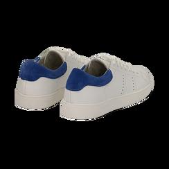 Sneakers bianche in vera pelle e dettaglio blu in camoscio, Scarpe, 131611783PEBIBL036, 004 preview