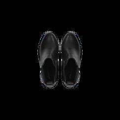 Chelsea Boots neri in vera pelle, tacco alto 7,5 cm, Scarpe, 127723802PENERO, 004 preview