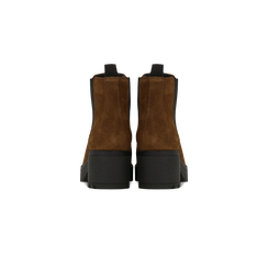 Chelsea Boots cuoio in vero camoscio, tacco medio 5,5 cm, Primadonna, 127723509CMCUOI040, 003 preview