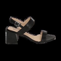 Sandali neri stampa pitone, tacco 6,50 cm, Primadonna, 152790111PTNERO036, 001 preview