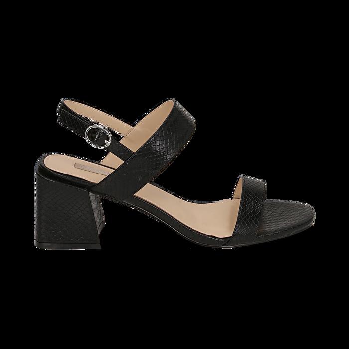 Sandali neri stampa pitone, tacco 6,50 cm, Primadonna, 152790111PTNERO036