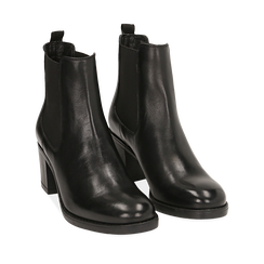 Ankle boots neri in pelle di vitello, tacco 6,50 cm , 16D808226VINERO036, 002a