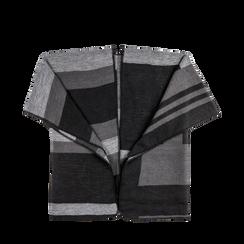 Poncho grigio effetto lamé, stampa a quadri multicolore, Abbigliamento, 12B409678TSNEGR, 001a preview
