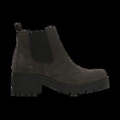 Chelsea Boots grigi in vero camoscio, tacco medio 5,5 cm, Scarpe, 127723509CMGRIG, 001 preview