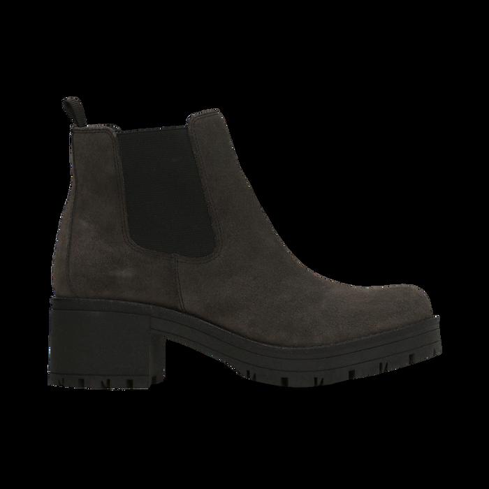 Chelsea Boots grigi in vero camoscio, tacco medio 5,5 cm, Scarpe, 127723509CMGRIG