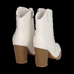 Santiags blanches en simili-cuir, talon 9 cm, Chaussures, 154930037EPBIAN035, 004 preview