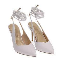 Slingback lace-up bianche, tacco 9 cm , Primadonna, 172106620EPBIAN035, 002 preview