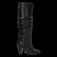 Stivali neri gambale drappeggiato, tacco a cono 10 cm, Primadonna, 124911206EPNERO036, 001a